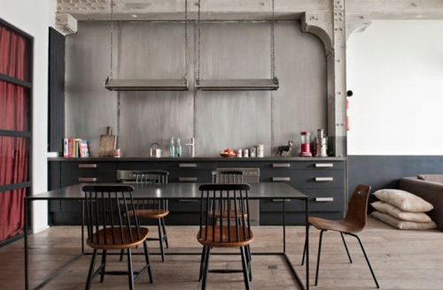 Grey kitchen living x design - Table cuisine style industriel ...