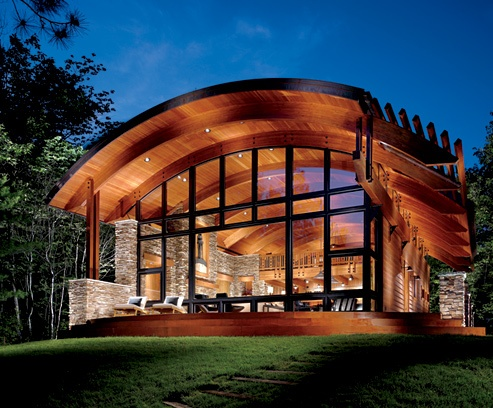 Looking through glass houses living x design for Curved roof house plans