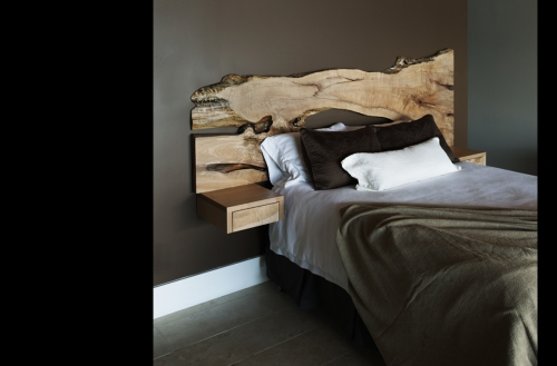 live edge slab headboard